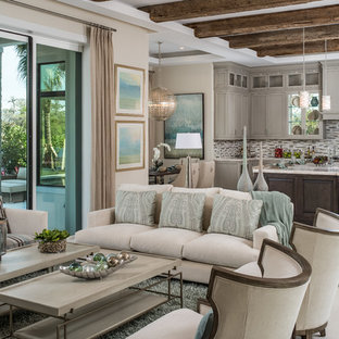Living room - transitional open concept living room idea in Miami with beige walls