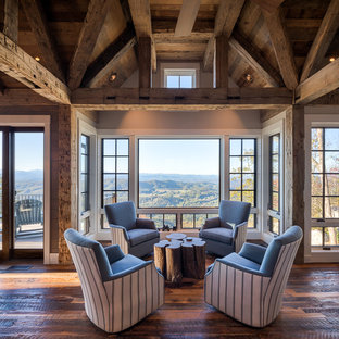 Inspiration For A Rustic Open Concept Dark Wood Floor And Brown Floor Living  Room Remodel In