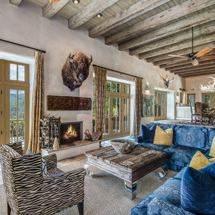 Inspiration For An Eclectic Open Concept Living Room Remodel In Albuquerque  With Beige Walls, A