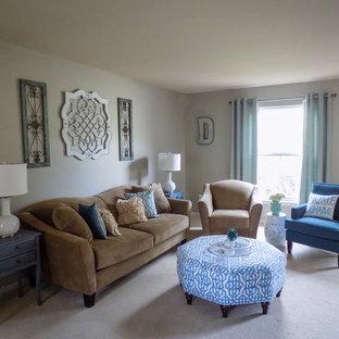 Modelo de salón para visitas abierto, romántico, de tamaño medio, sin chimenea y televisor, con paredes verdes, moqueta y suelo beige