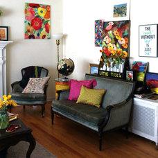 Eclectic Living Room Blue Velvet and Art wall