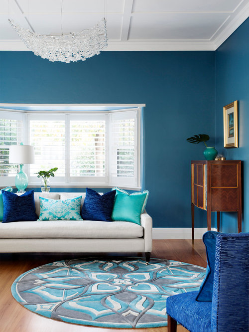 Medium sized blue living room design ideas renovations - Standard living room size australia ...