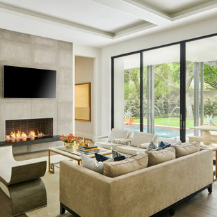 Example of a trendy living room design in Dallas