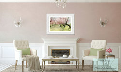 Blush Pink Living Room with Spring Cherry Blossoms Art