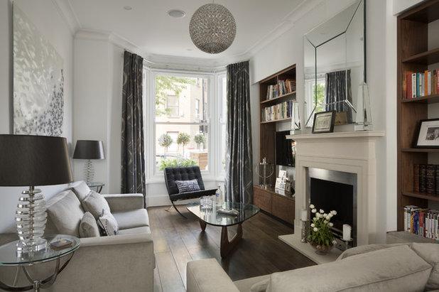 Transitional Living Room by NSI Design Ltd