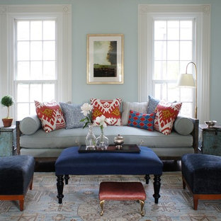 Living room - mid-sized traditional formal and open concept carpeted living room idea in New York with blue walls and no tv