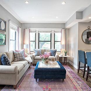 Ispirazione per un piccolo soggiorno classico con pareti grigie, parquet scuro e nessun camino