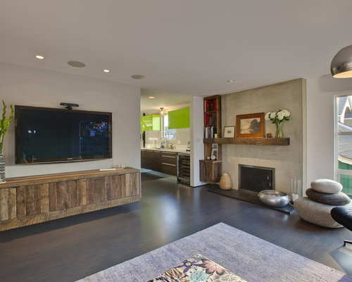 living room wall cabinet design ideas. Example of a minimalist living room design in Los Angeles with wall mounted  tv Hanging Cabinet Living Room Ideas Photos Houzz