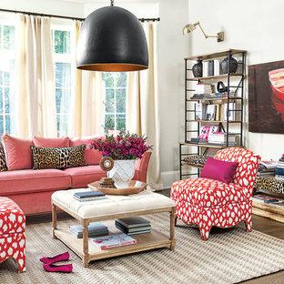 Living room - eclectic dark wood floor living room idea in Atlanta with white walls