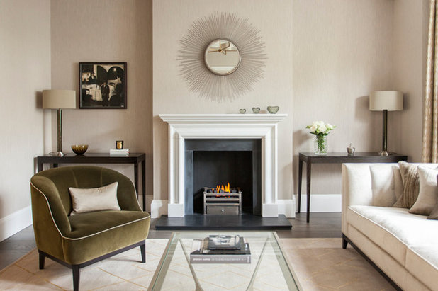 Transitional Living Room by English Fireplaces