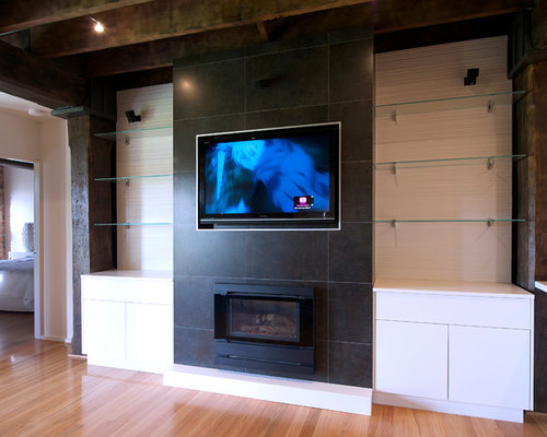 Black Living Room Design Ideas, Remodels & Photos with a Built-In Media Wall | Houzz