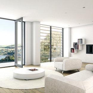 Пример оригинального дизайна: большая парадная, открытая гостиная комната в современном стиле с белыми стенами, паркетным полом среднего тона, телевизором на стене, горизонтальным камином и фасадом камина из штукатурки