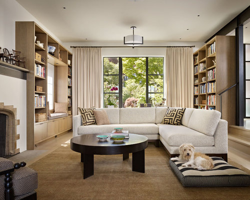 Living Room Library   Contemporary Light Wood Floor Living Room Library  Idea In Seattle With White