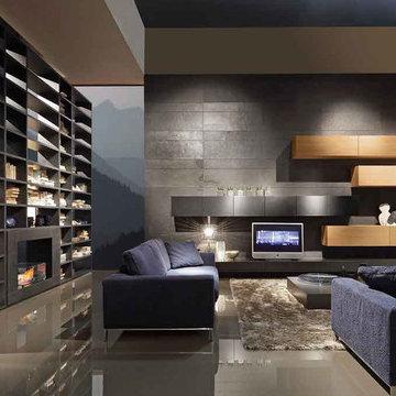 Bookshelf And Bioethanol Fireplace, Presotto Italy