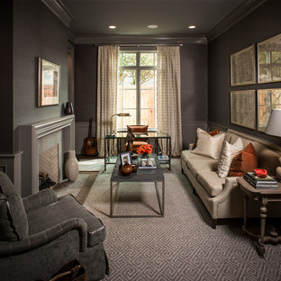 Example of a classic living room design in Houston with gray walls