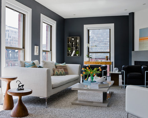 Dark gray walls houzz Room with black walls