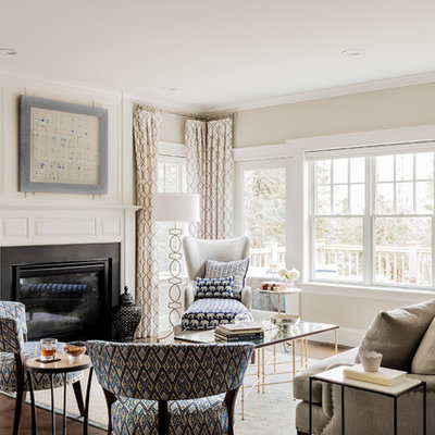 Inspiration for a large transitional formal and enclosed dark wood floor living room remodel in Boston with beige walls, a standard fireplace, a metal fireplace and no tv
