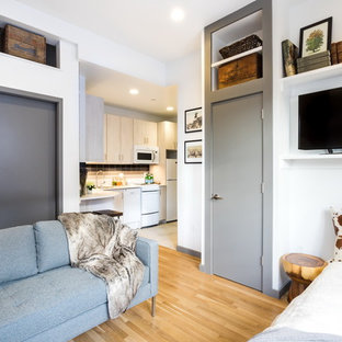 Small trendy open concept medium tone wood floor living room photo in Boston with white walls and a tv stand