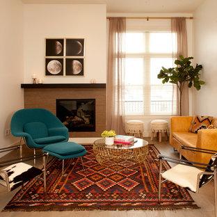 Example Of A Trendy Medium Tone Wood Floor And Brown Floor Living Room  Design In Denver