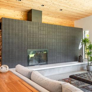 Immagine di un soggiorno moderno di medie dimensioni con stufa a legna, cornice del camino piastrellata, pavimento grigio, soffitto in legno e pareti in legno