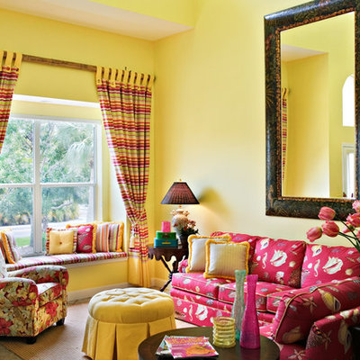 Inspiration for a contemporary living room remodel in Baltimore with yellow walls