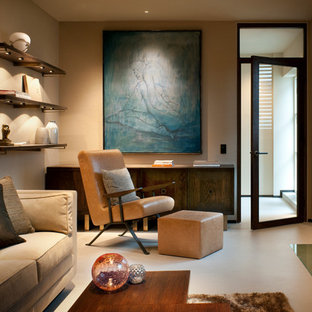 Beau Example Of A Trendy Enclosed Living Room Design In London