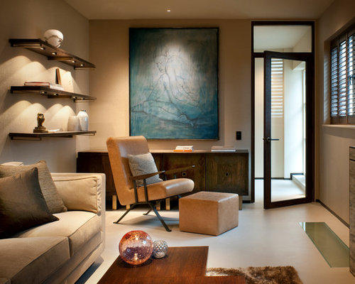 Example Of A Trendy Enclosed Living Room Design In London