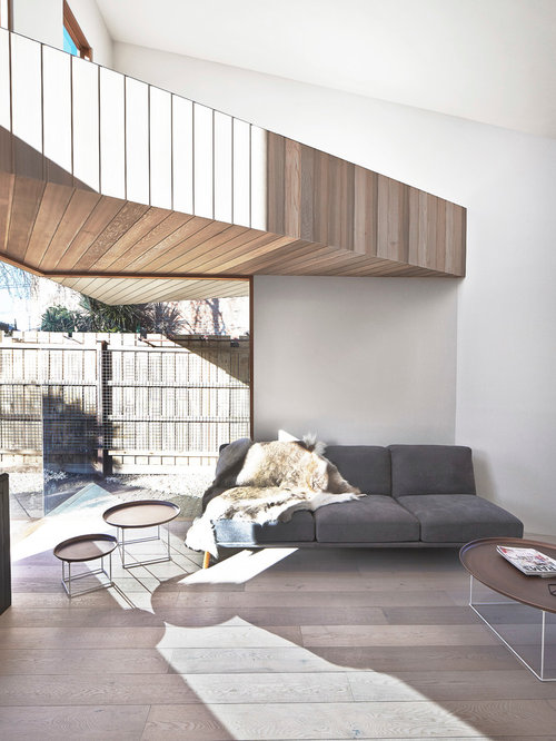 Inspiration For A Mid Sized Contemporary Open Concept Living Room In  Melbourne With White Walls