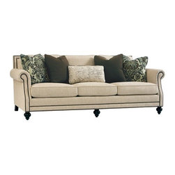 Bernhardt Furniture - Brae Sofa - Bring a fashion forward notion to your living room with this Bernhardt Brae sofa. Exciting features include a rolled arm design, decorative nailhead trim, down blend cushions, three loose back cushions, four decorative feather down throw pillows, and sinuous spring suspension.