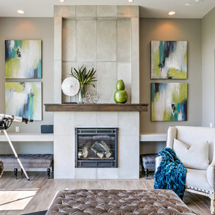 Inspiration for a transitional formal light wood floor living room remodel in Omaha with gray walls