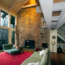 Contemporary Living Room by Hugh Lofting Timber Framing, Inc.