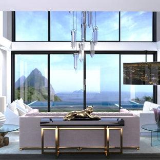 他の地域の巨大なビーチスタイルのおしゃれなLDK (白い壁、濃色無垢フローリング、両方向型暖炉、コーナー型テレビ、茶色い床、壁紙) の写真