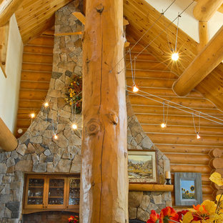 Example of a mountain style living room design in Denver
