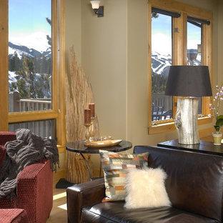 デンバーの中くらいのサンタフェスタイルのおしゃれなLDK (グレーの壁、淡色無垢フローリング、標準型暖炉、石材の暖炉まわり) の写真