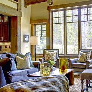 Example of a trendy living room design in Denver