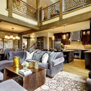 Living room - contemporary open concept living room idea in Denver