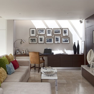 Inspiration for a contemporary open concept living room remodel in Other with a media wall