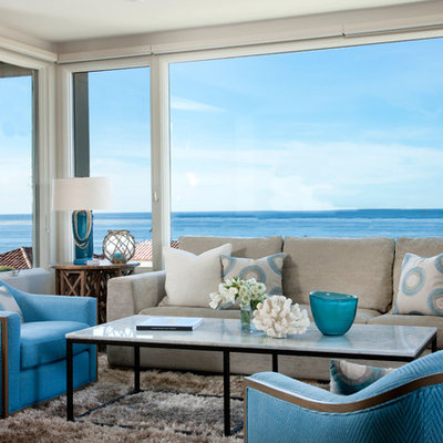Example of a beach style formal living room design in San Diego