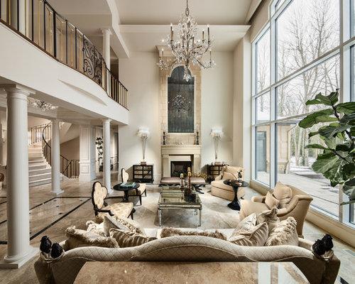 stunning elegant living room georgian   Two Story Fireplace   Houzz