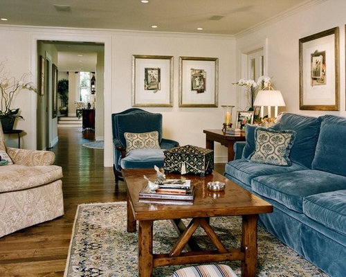Example Of A Classic Enclosed Dark Wood Floor Living Room Design In Los  Angeles With Beige