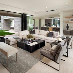 Idee per un soggiorno design di medie dimensioni e chiuso con sala formale, pareti bianche, pavimento in travertino, nessun camino, nessuna TV e pavimento beige