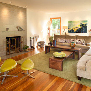 Example of a trendy living room design in San Francisco with white walls and a standard fireplace