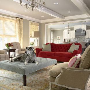 Esempio di un soggiorno classico con pareti grigie