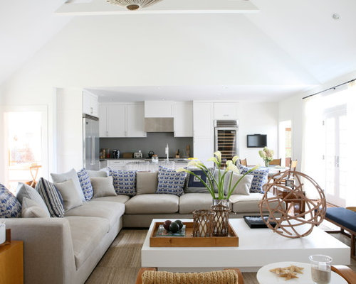living room sectional ideas. Example of a coastal open concept living room design in New York with white  walls Sectional Ideas Houzz
