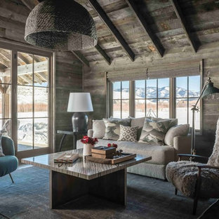 Inspiration For A Rustic Living Room Remodel In Other With Brown Walls