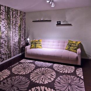 Foto di un piccolo soggiorno minimal con pareti verdi e parquet scuro
