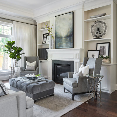 Living room - mid-sized transitional formal and open concept dark wood floor and brown floor living room idea in Toronto with gray walls, a standard fireplace, a stone fireplace and no tv