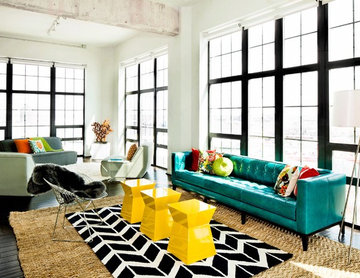 Bright and bold loft living room