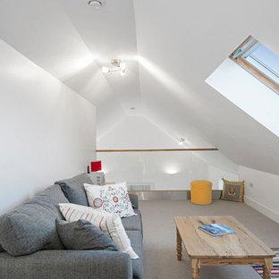Großes, Fernseherloses Nordisches Wohnzimmer im Loft-Stil, ohne Kamin mit weißer Wandfarbe und Teppichboden in Dublin