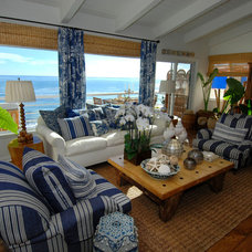 Tropical Living Room by Barbara Grushow Designs LLC